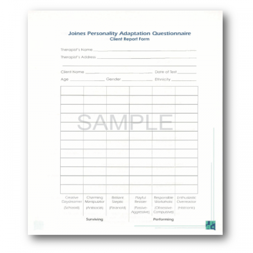 paper version joines personality adaptation questionnaire jpaq