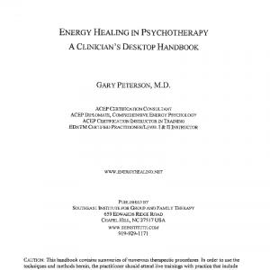 Energy Healing In Psychotherapy A Clinicians Desktop Handbook Pg 1